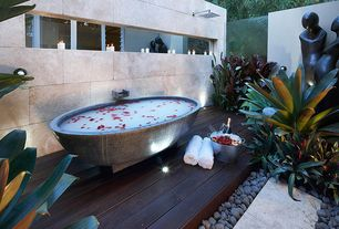 Modern Hot Tub with Pathway, Fence, Apaiser - Haven Stone Bathtub with Base