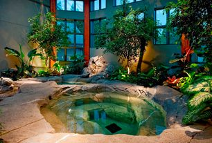 Eclectic Hot Tub with exterior stone floors, Pond, Sunken hot tub