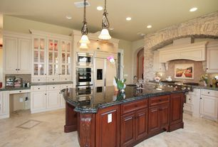 Traditional Kitchen with Undermount sink, Simple granite counters, French doors, Limestone Tile, flush light, Glass panel