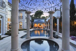 Mediterranean Swimming Pool with Wrought Iron False Balconies, Pool with hot tub, French doors, Paint 1, Fence, Gazebo