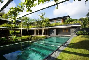 Asian Swimming Pool with Transom window, Raised beds, exterior stone floors, Lap pool, Trellis, Pathway, Fence