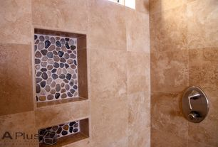 Rustic 3/4 Bathroom with Arizona Tile, Multi Crema Travertine., High ceiling, Himalaya Rose Flat Mesh Tile (Pack of 5)
