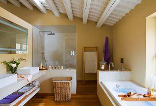 Contemporary Master Bathroom with Standard height, Exposed beam, Vessel sink, Hardwood floors, Master bathroom, Double sink