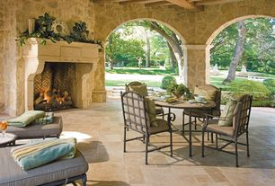 Traditional Porch with exterior stone floors, Tuscany beige pattern honed-unfilled-chipped travertine floor and wall tile