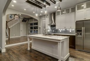 Traditional Kitchen with One-wall, PentalQuartz Carrara, Flush, Flat panel cabinets, Stone Tile, Glass panel, Soapstone Tile