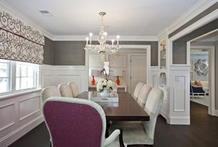 Traditional Dining Room with Crown molding, Hardwood floors, Casement, interior wallpaper, Chandelier, Standard height