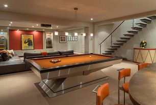 Contemporary Game Room with Billiard light, Tanga 5-Light Hanging Chrome Island Light, Cement countertop, Projector, Carpet