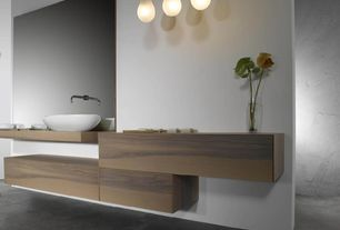 Contemporary Master Bathroom with Master bathroom, Standard height, Wood counters, Pendant light, Concrete floors