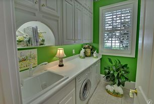 Traditional Laundry Room with Rabbit figurines, double-hung window, Standard height, Concrete tile , specialty door, Paint