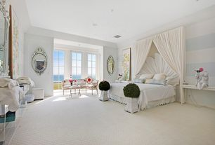 Contemporary Master Bedroom with can lights, French doors, interior wallpaper, picture window, High ceiling, Carpet