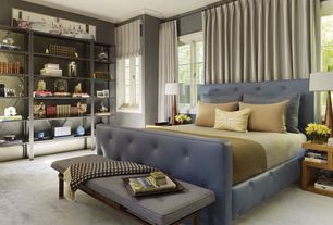 Contemporary Master Bedroom with Carpet, Standard height, Casement, Built-in bookshelf, Crown molding