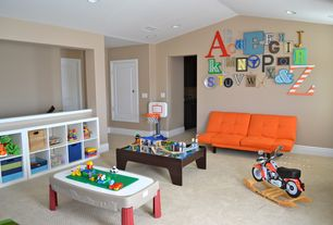 Contemporary Playroom with Built-in bookshelf, Carpet