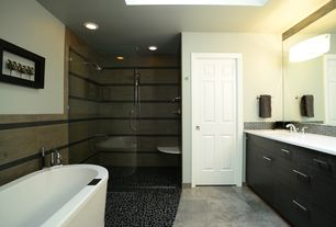 Contemporary Master Bathroom with Inset cabinets, Simple marble counters, can lights, Bathtub, European Cabinets, Shower