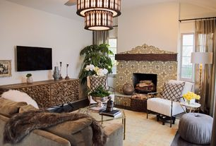 Mediterranean Living Room with Traditional spanish ceramic tile, Cafepress, Hardwood floors, Chandelier