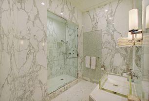 Contemporary Master Bathroom with frameless showerdoor, Glass Tile, Handheld showerhead, ceramic tile floors, Vessel sink