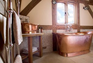 Craftsman Full Bathroom with Copper bathtub, Wood counters, Signature hardware thaine copper double-slipper-tub, Freestanding