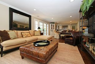 Traditional Living Room with Crown molding, Hardwood floors