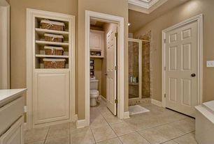Traditional Master Bathroom with Corian counters, Flush, Raised panel, Master bathroom