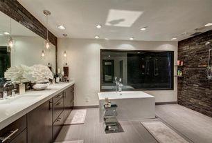 Contemporary Master Bathroom with Double sink, Master bathroom, Aquatica 4.4 ft. Acrylic Center Drain Square Bathtub in White