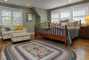 Country Master Bedroom with Hardwood floors
