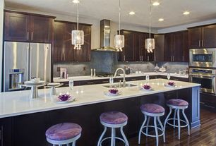 Contemporary Kitchen with Ceramic Tile, Pendant light, Flat panel cabinets, Ultracraft Destiny Plainview Cabinetry, L-shaped