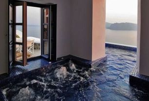 Mediterranean Hot Tub with exterior stone floors