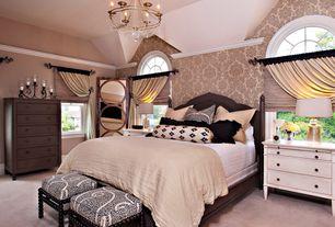 Traditional Master Bedroom with specialty window, interior wallpaper, Built-in bookshelf, Standard height, Carpet, Chandelier
