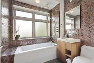 Contemporary Full Bathroom with linen and towel storage cabinet, slate tile floors, stone tile floors, drop in bathtub, Flush