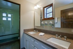Transitional 3/4 Bathroom with Double sink, frameless showerdoor, specialty door, Flat panel cabinets, Limestone, Flush