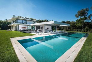 Traditional Swimming Pool with Lap pool, French doors, Fence, Trellis