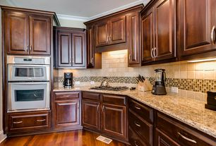 Traditional Kitchen with Inset cabinets, Standard height, electric cooktop, Simple granite counters, Stone Tile, L-shaped