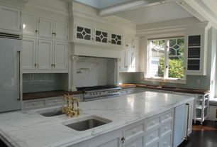 Traditional Kitchen with Soapstone counters, High ceiling, Vermont marble and granite countertop slabs, Undermount sink