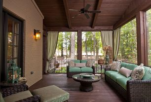 Craftsman Porch with Paint, Wrap around porch, Screened porch, Deck Railing, French doors