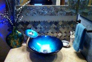 Eclectic Powder Room with High ceiling, Aqua blue blemish glass vessel sink, Limestone counters, Ceramic Tile, Powder room
