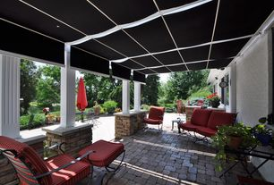 Traditional Patio with Pillow Perfect Outdoor Red Seat Cushions (Set of 2), exterior tile floors, Retractable awning