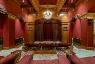 Traditional Home Theater with Box ceiling, Carpet, interior wallpaper, High ceiling, Crown molding, Chandelier, Wainscotting