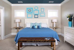 Cottage Master Bedroom with Crown molding, picture window, Paint 1, Gallery wall, Bungalow 5 formosa white table lamp, Carpet