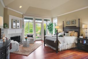 Traditional Master Bedroom with Paint 2, High ceiling, Cement fireplace, Fireplace, French doors, Crown molding, Paint 1