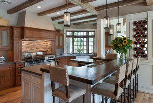 Rustic Kitchen with Undermount sink, Exposed beam, Glass panel, Custom hood, Farmhouse sink, U-shaped, Breakfast bar, Paint