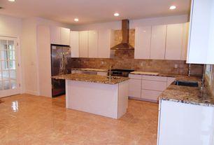 Modern Kitchen with can lights, U-shaped, European Cabinets, full backsplash, Stone Tile, Limestone Tile, stone tile floors