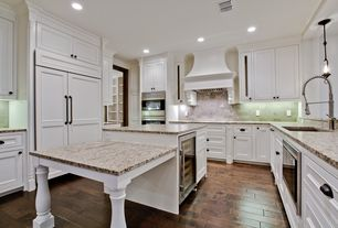 Traditional Kitchen with Flat panel cabinets, full backsplash, electric cooktop, Inset cabinets, Paint 1, built-in microwave