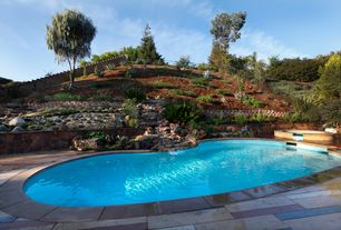 Eclectic Swimming Pool with Pathway, exterior stone floors, Raised beds, Fence