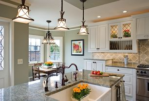Traditional Kitchen with full backsplash, Glass panel, Simple granite counters, Casement, Breakfast nook, Standard height