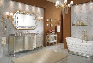 Traditional Master Bathroom with Flat panel cabinets, Lineatre - Tufted Soaking Tub, Pental - Diano Reale Polished Marble