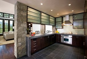Contemporary Kitchen with U-shaped, Plank - Select Walnut, Simple granite counters, Pendant light, slate tile floors, Flush