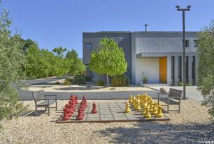 Eclectic Landscape/Yard with Standard height, limestone floors