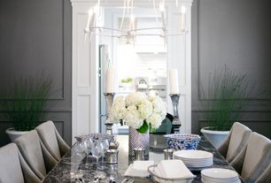 Contemporary Dining Room with Chair rail, Chandelier, Standard height