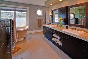 Craftsman Master Bathroom with partial backsplash, Bathtub, Wall sconce, Double sink, Wall Tiles, Shower, Limestone Tile
