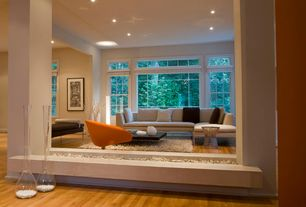 Contemporary Living Room with picture window, double-hung window, Standard height, Columns, Hardwood floors, can lights