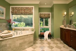 Traditional Master Bathroom with Inset cabinets, Undermount sink, Limestone counters, Roman shades, Master bathroom